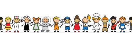 doctor dibujo animado: niños sin costura en trajes profesiones de pie en una fila en un fondo blanco Vectores