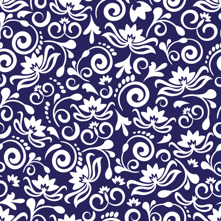 seamless blue floral pattern with abstract flowers and curls