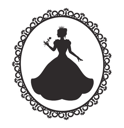 silhouette of a princess in a magnificent dress in a retro frame Illustration