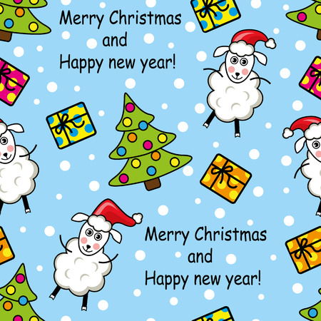 seamless pattern with sheep, gifts and decorations of Christmas trees Vector