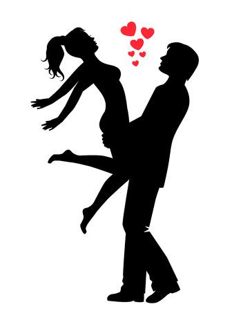 éxtasis: silueta de una pareja amorosa feliz. El hombre tiene la mujer en sus brazos, y la mujer abrió los brazos.