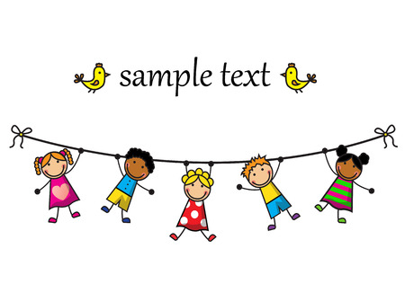 Cartoon background with children hanging on a rope