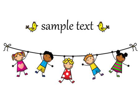 Cartoon Hintergrund mit Kindern am Seil hängend Illustration