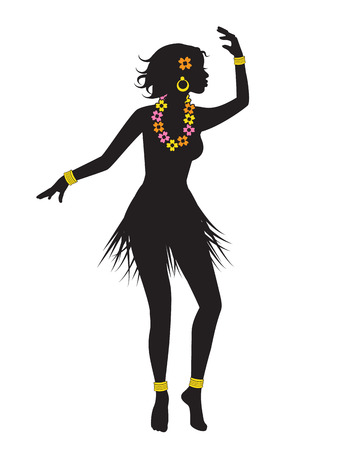 multi ethnic group: silhouette of dancing Hawaiian girl with flower beads and bracelets Illustration