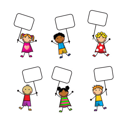 Cartoon set of small children with signs