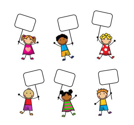 Conjunto de dibujos animados de los niños con signos