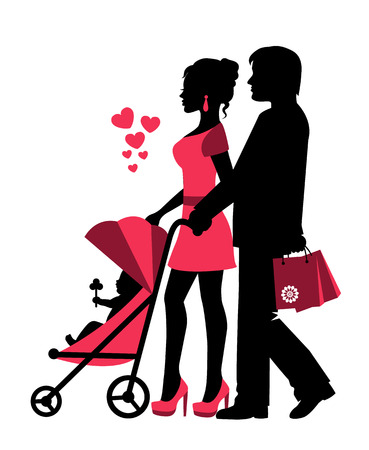 baby stroller: couple rolls the stroller with a baby. Near the silhouettes of hearts