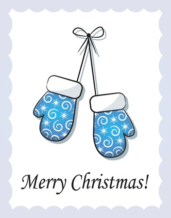 mittens: Christmas blue mittens hanging on a rope Illustration