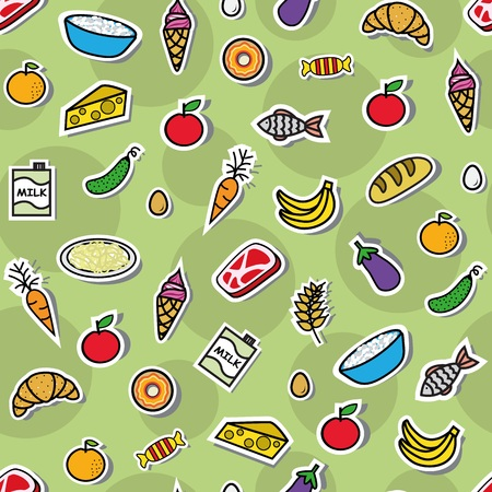 seamless pattern with different meal on a green background Vector