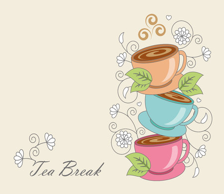 whorls: cup of tea with leaves on a background of whorls Illustration