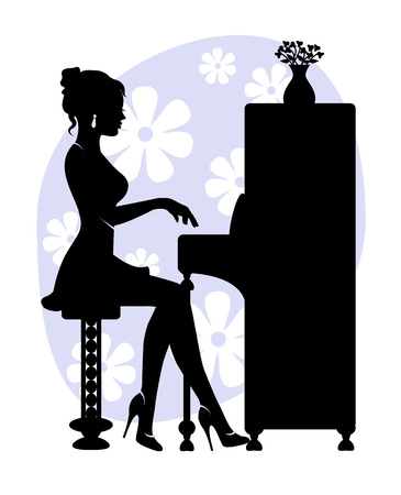 silhouette of young woman playing the piano on the background of stylized flowers
