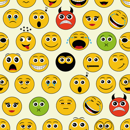 green smiley face: seamless pattern with yellow shiny emoticons on white background