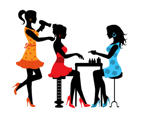 Woman in a beauty salon with a Manicurist and hairdresser Stock Illustratie