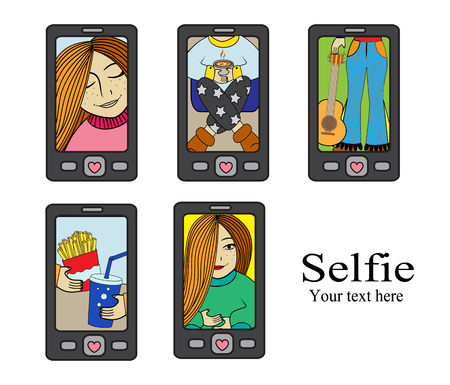 photographs: cell phones and photos on them. Girl photographs herself.