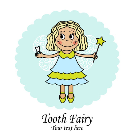 pixy: emblem with a little fairy that holds the tooth and the magic wand
