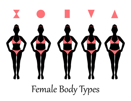 nude body: silhouettes of various types of female figures