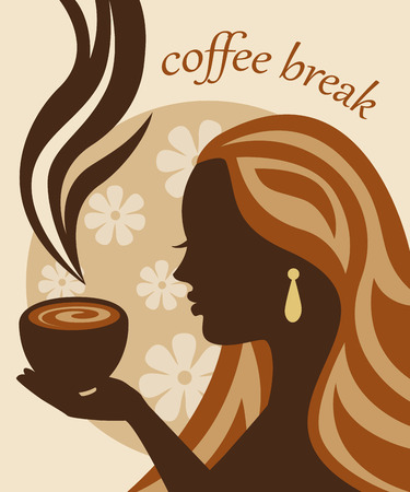 face painting: female silhouette in profile holding a cup of coffee and inhales the aroma