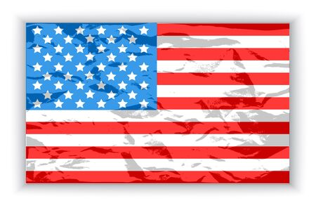 American flag on a white background with shadow Vector