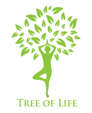 zenlike: tree with green leaves and a silhouette of a man doing yoga