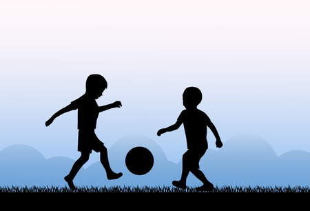 kicking ball: Two small boys kicking a ball on the grass Illustration