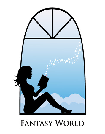 woman reading book: silhouette of a girl sitting on a window and reading a book Illustration