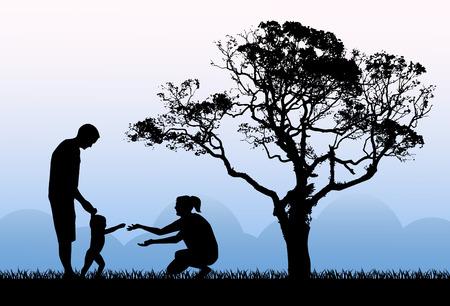 árbol genealógico: siluetas de los padres con un niño jugando en el fondo de la madrugada en la mañana y un gran árbol