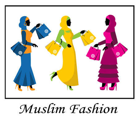 arab adult: silhouettes of Muslim women in bright clothes with packages