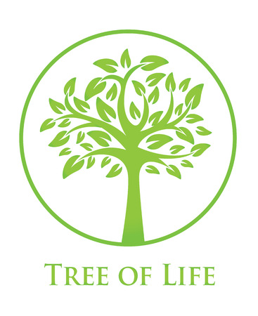 green life: round green icon with a silhouette of a tree Illustration