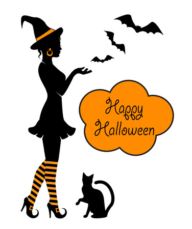 profile silhouette: Beautiful witch in striped stockings and black cat