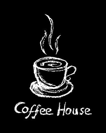 A mug of hot coffee drawn with chalk on a blackboard