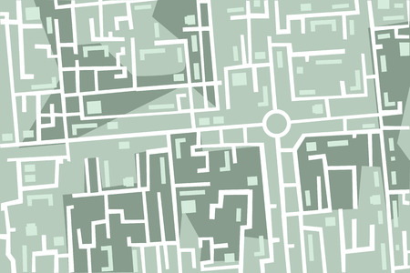 urban planning: editable map of the city with houses and roads