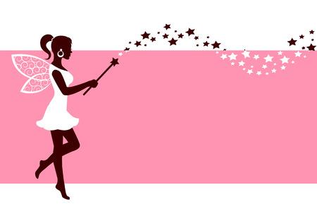 polvo: Silueta de hadas elegantes con alas y una varita mágica sobre un fondo de color rosa