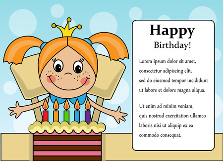 one girl only: Cartoon background with a girl and birthday cake and place for text Illustration