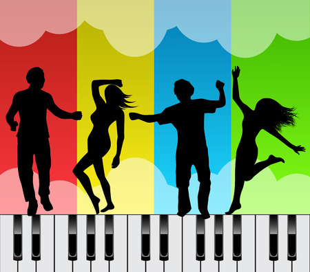 arts: Silhouettes of men and women dancing on the keys of a piano on the bright multicolored background
