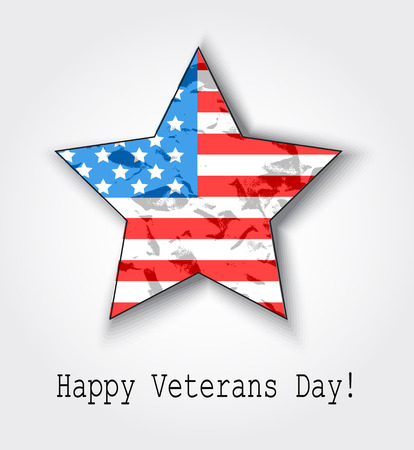 veterans: card American flag in the shape of a star with shadow