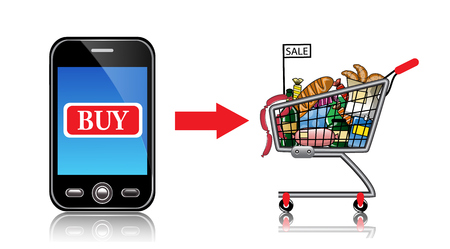 phone button: Phone buy button, the red arrow with the food truck Illustration