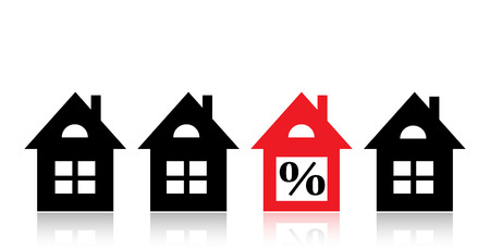 Four houses for sale. One house is sold at a discount house highlighted in red Illustration