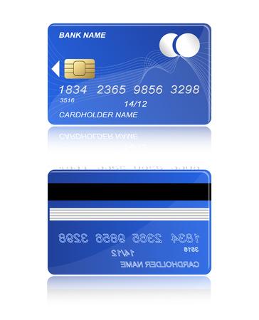 carte bancaire pour payer pour la couleur bleue des deux côtés sur un fond blanc