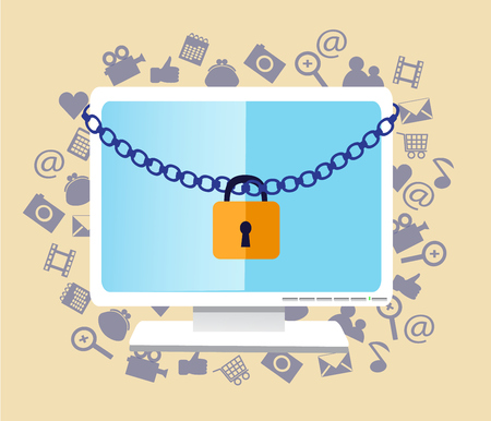 communications: The monitor hanging chain and lock. Behind monitor various computer icons Illustration