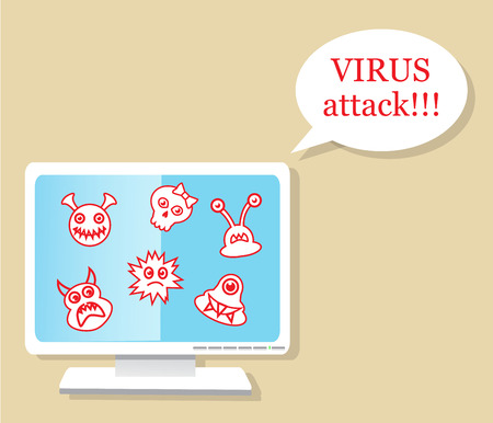 computer attack: A computer with a virus warning about a virus attack Illustration