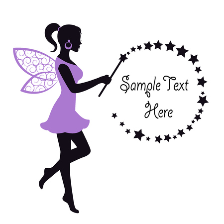 fairy wand: Fairy in a dress with wings and waving a magic wand on a white background
