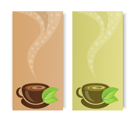 two banners with cups of tea leaves and smoke