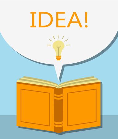 idea lamp: Orange Book with bubbles Dialogue and lamp that symbolizes the idea