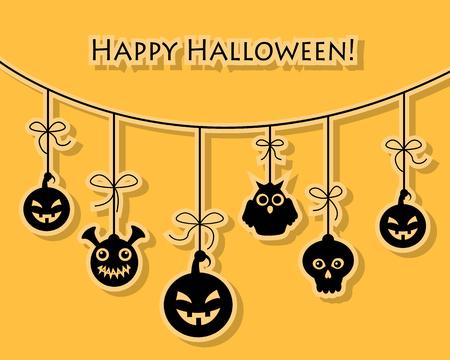 monster: Skull, pumpkin monster hang on the rope Card Halloween