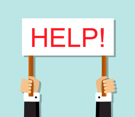 hand sign: hand office worker holding a sign with the word help! Illustration