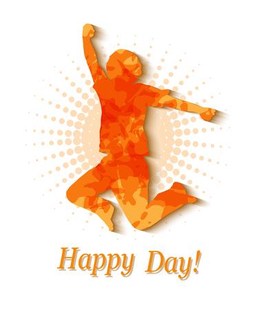 juventud: silueta de un hombre saltando fondo naranja halfton