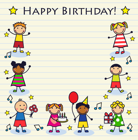decorated cake: Cartoon children celebrating birthday on a striped background sheet. Background decorated cake, notes and stars