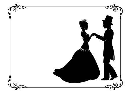 styled: silhouettes of men and women in ancient costumes in vintage frame Illustration