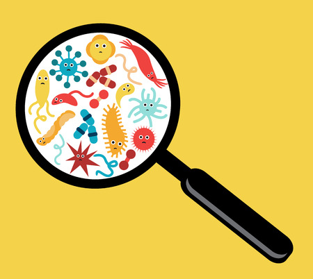 microorganisms, bacteria and viruses increase magnifying glass on a yellow background