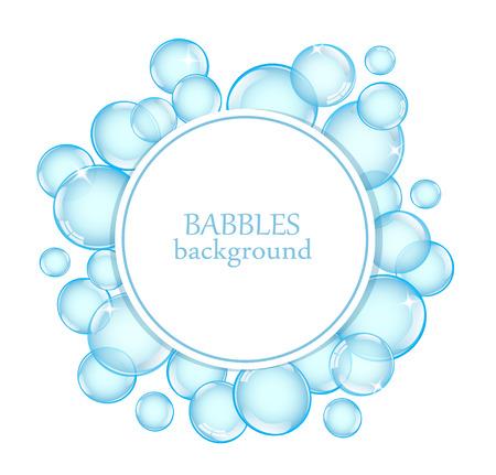 burbujas de jabon: Fondo redondo con pompas de jabón brillantes y espacio para texto Vectores